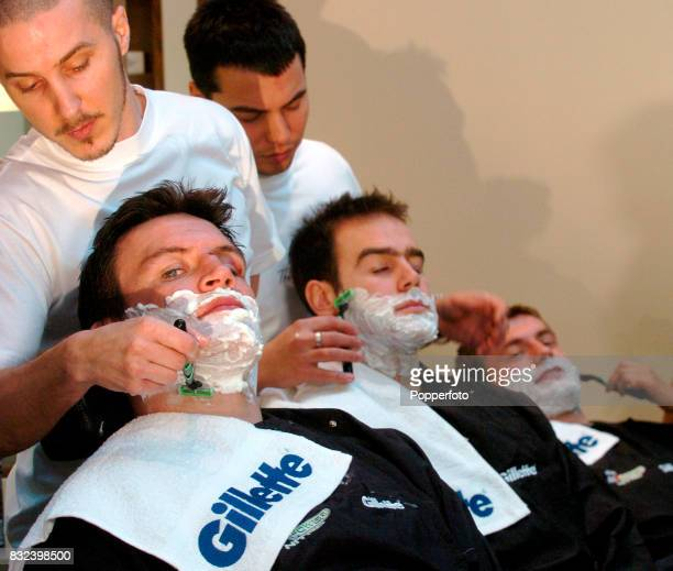 Leicester and England rugby player Martin Corry getting a shave at The Refinery in Mayfair, London on the 6th March, 2006.