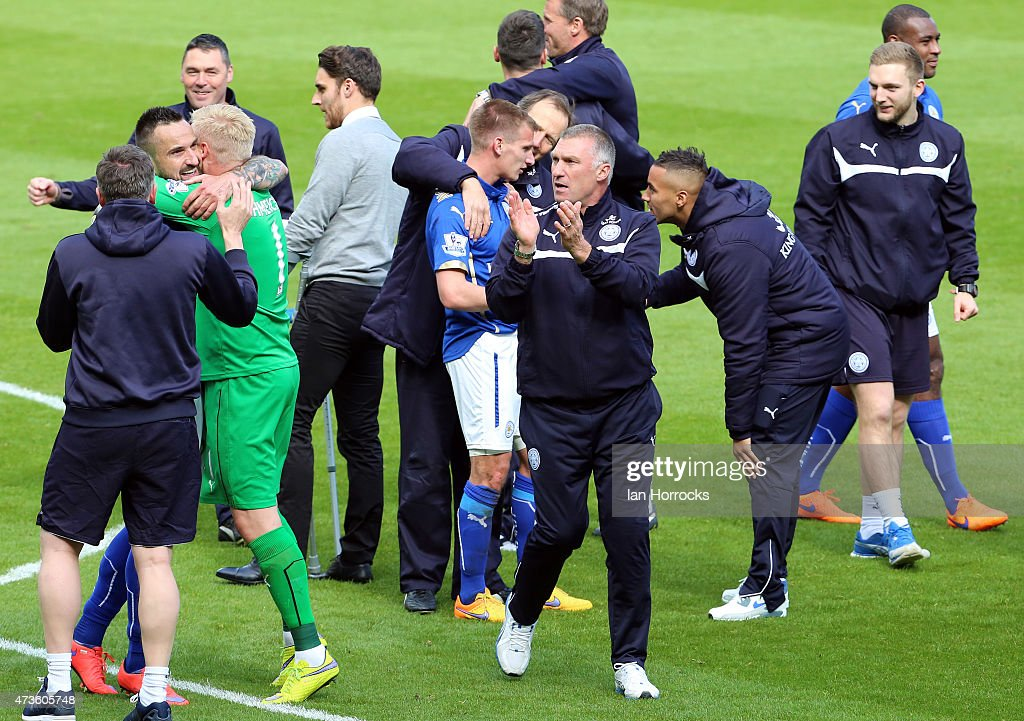 Leicester boss Nigel Pearson celebrates at the end of the Barclays Premier League match between Sunderland and Leicester City at the Stadium of Light on May 16, 2015 in Sunderland, England.