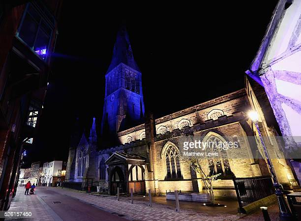 Leicester Cathedral is lit up blue showing their support to Leicester City FC during a Leicester Backing the Blues Campaign in support of Leicester...