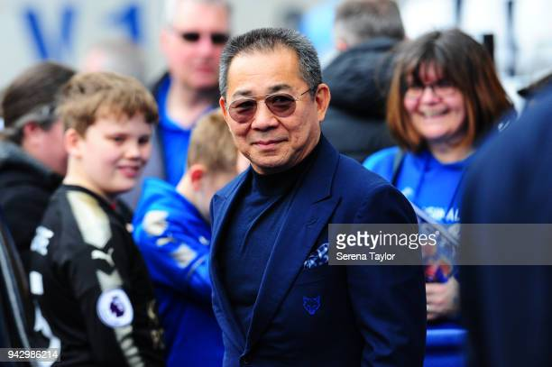 Leicester Chairman Vichai Srivaddhanaprabha arrives on his 60th birthday for the Premier League Match between Leicester City and Newcastle United at...