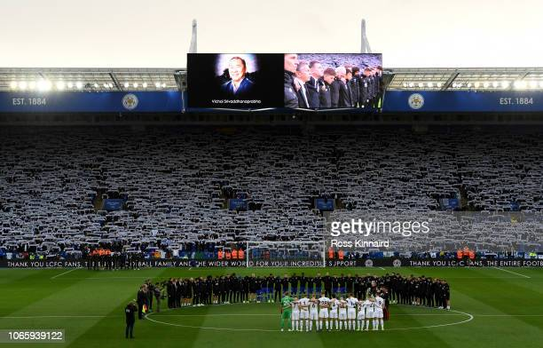 Leicester City and Burnley FC stand for a two minute silence memory of Chairman Vichai Srivaddhanaprabha and remembrance Sunday before the Premier...