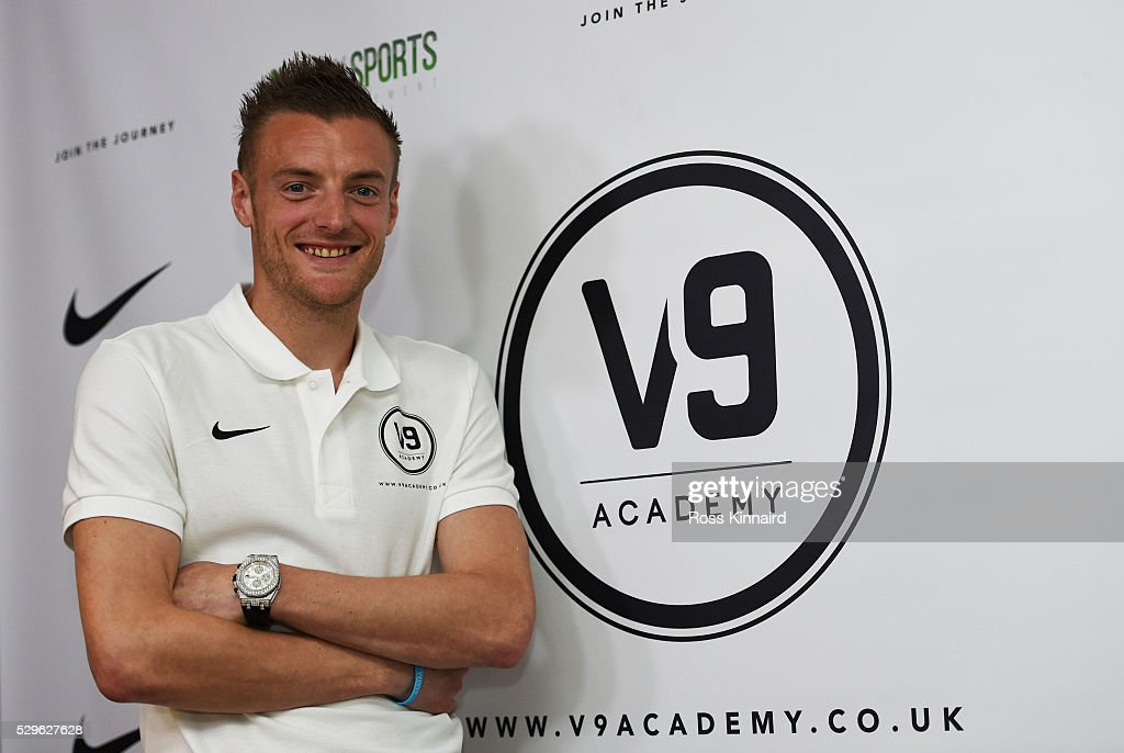 Leicester City and England striker Jamie Vardy smiles as he attends the Jamie Vardy V9 Academy Launch at The King Power Stadium on May 9, 2016 in Leicester, England.