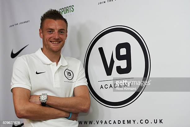 Leicester City and England striker Jamie Vardy smiles as he attends the Jamie Vardy V9 Academy Launch at The King Power Stadium on May 9 2016 in...