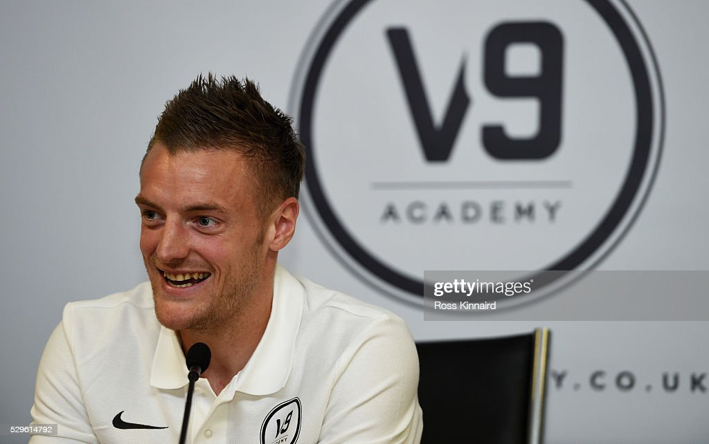 Leicester City and England striker Jamie Vardy speaks as he attends the Jamie Vardy V9 Academy Launch at The King Power Stadium on May 9, 2016 in Leicester, England.