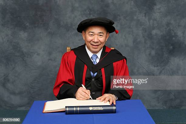 Leicester City and King Power Chairman Vichai Srivaddhanaprabha receives an Honorary Law Degree from Leicester University on January 22, 2016 in...