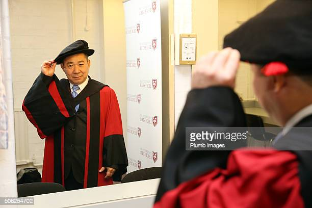 Leicester City and King Power Chairman Vichai Srivaddhanaprabha receives an Honorary Law Degree from Leicester University on January 22 2016 in...