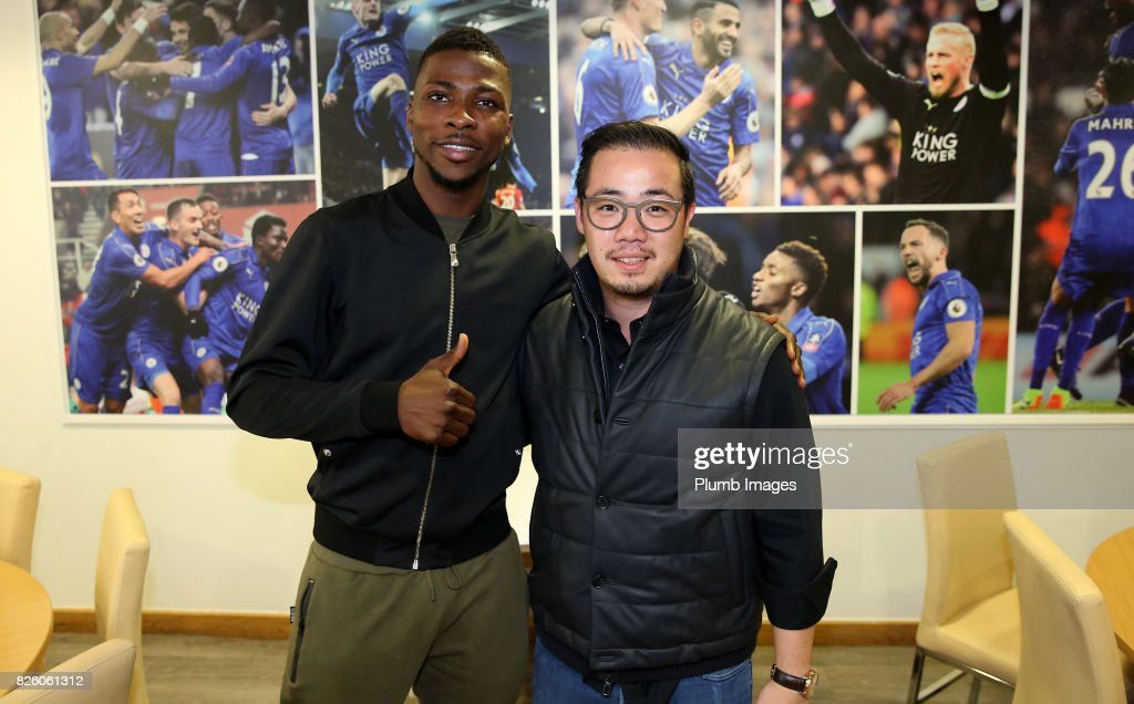 Leicester City announce the signing of Kelechi Iheanacho at King Power Stadium pictured with Vice chairman Aiyawatt Srivaddhanaprabha on August 3rd, 2017 in Leicester, United Kingdom.