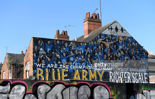 Leicester City art work is seen near the stadium prior to the Premier League match between Leicester City and Southampton at The King Power Stadium...