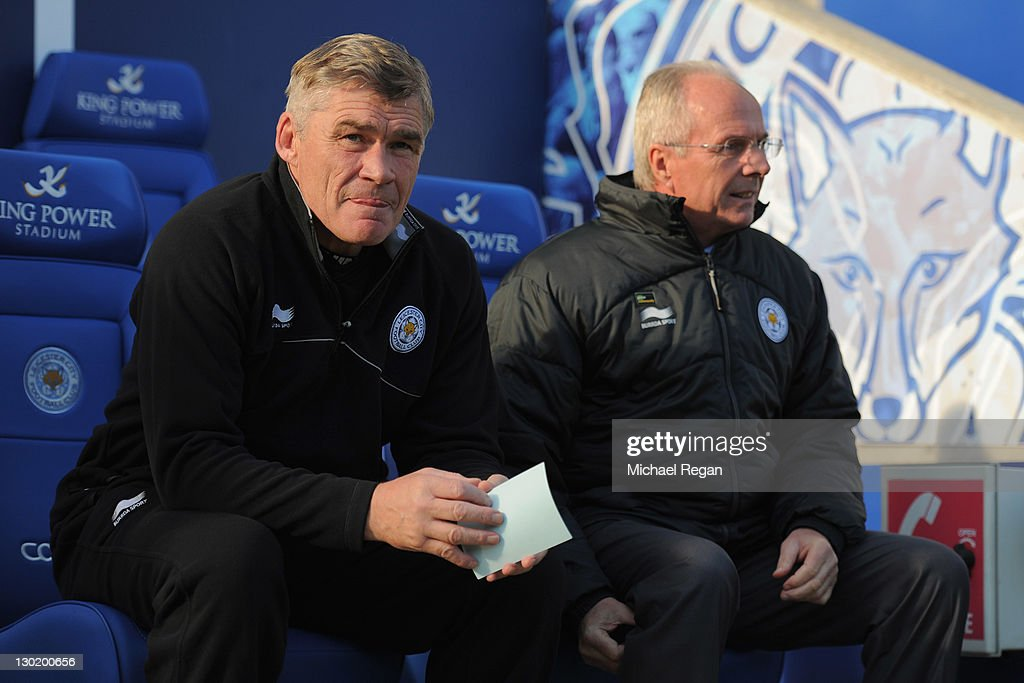 Leicester City assistant manager Derek Fazackerley looks on with manager Sven Goran Eriksson during the npower Championship match between Leicester City and Millwall at the King Power Stadium on October 22, 2011 in Leicester, England.