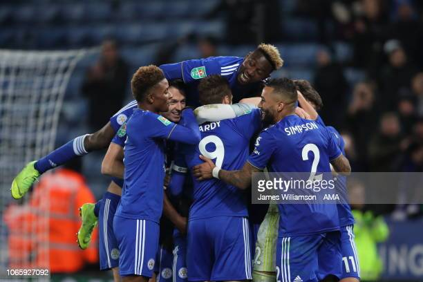 Leicester City celebrate their penalty shoot out win after Danny Ward of Leicester City saved the penalty of Manolo Gabbiadini of Southampton and...