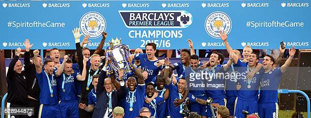 Leicester City celebrate with the Premier League trophy after the the Barclays Premier League match between Leicester City and Everton at the King...