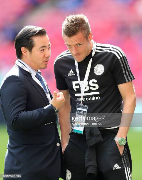 Leicester City Chairman, Aiyawatt Srivaddhanaprabha and Jamie Vardy of Leicester City speak prior to The FA Community Shield Final between Manchester...