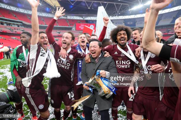 Leicester City Chairman Aiyawatt Srivaddhanaprabha celebrates with his team after winning The Emirates FA Cup Final match between Chelsea and...