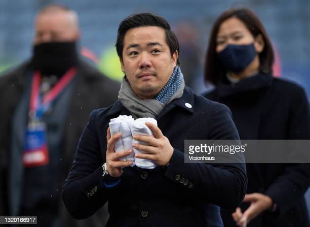 Leicester City Chairman Aiyawatt Srivaddhanaprabha hands out gifts to fans after the Premier League match between Leicester City and Tottenham...