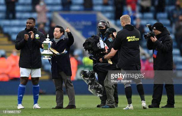 Leicester City Chairman Aiyawatt Srivaddhanaprabha with the FA Cup at the end of the Premier League match between Leicester City and Tottenham...