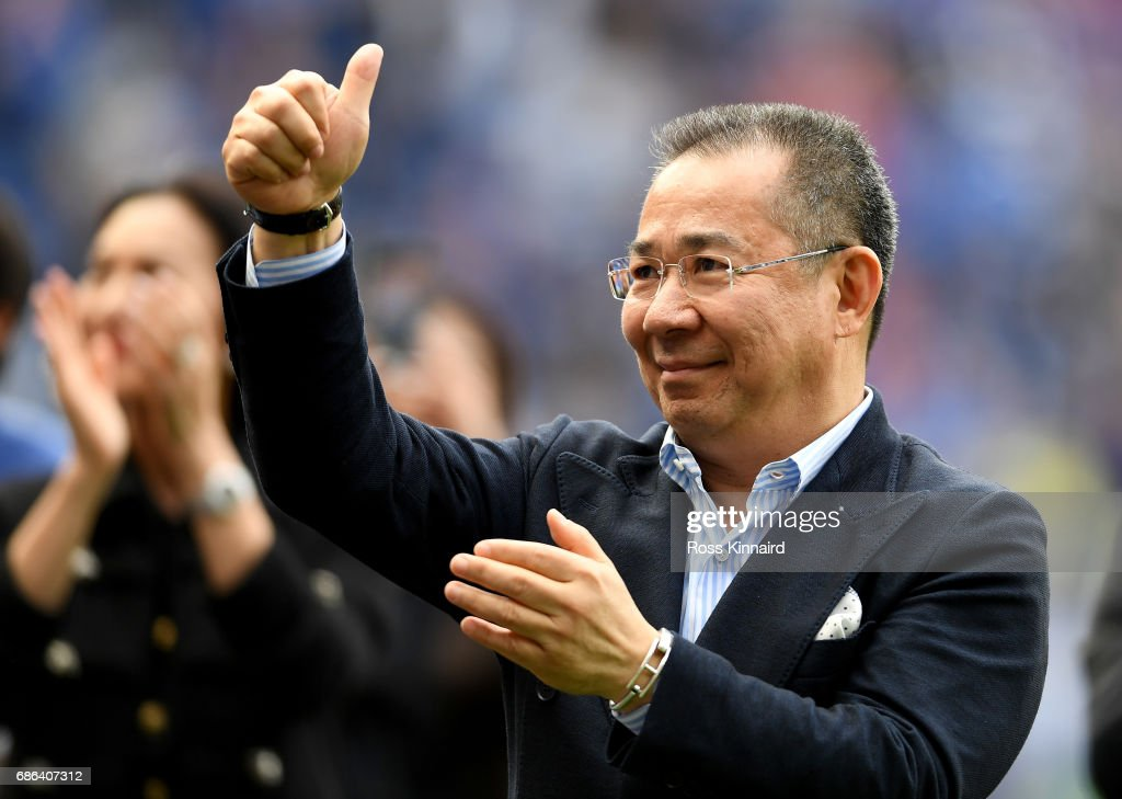 Leicester City Chairman, Vichai Srivaddhanaprabha acknowledges the fans during a lap of the pitch after the Premier League match between Leicester City and Bournemouth at King Power Stadium on May 21 , 2017 in Leicester, United Kingdom.