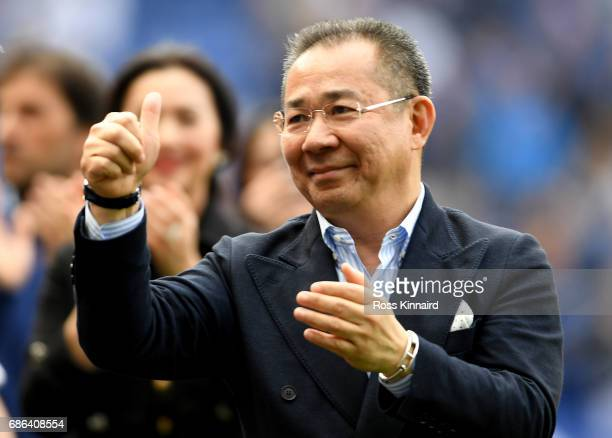 Leicester City Chairman Vichai Srivaddhanaprabha acknowledges the fans during a lap of the pitch after the Premier League match between Leicester...