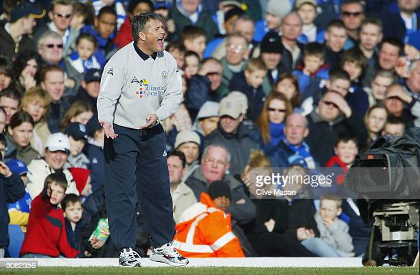 Leicester City coach Micky Adams shouts instructions during the FA Barclaycard Premiership match between Birmingham City and Leicester City at St...