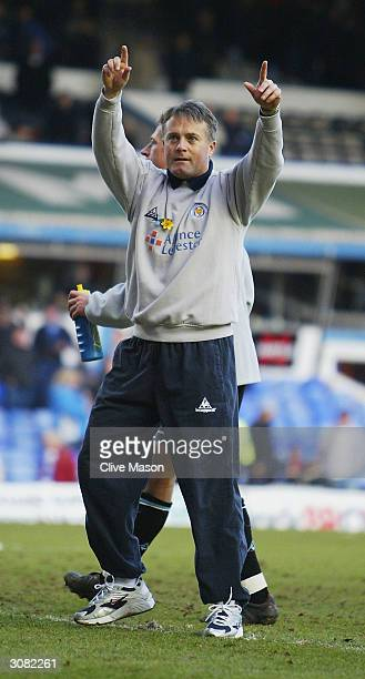 Leicester City coach Micky Adams shows his appreciation to the crowd after the FA Barclaycard Premiership match between Birmingham City and Leicester...