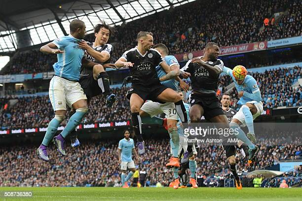 Leicester City defend an attack as Fernando of Manchester City fails to score during the Barclays Premier League match between Manchester City and...