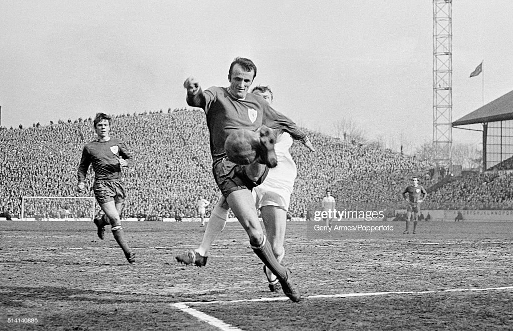Leicester City defender Peter Rodrigues clears the ball during the FA Cup Semi-Final at Hillsborough in Sheffield, 22nd March 1969. Leicester City won 1-0.
