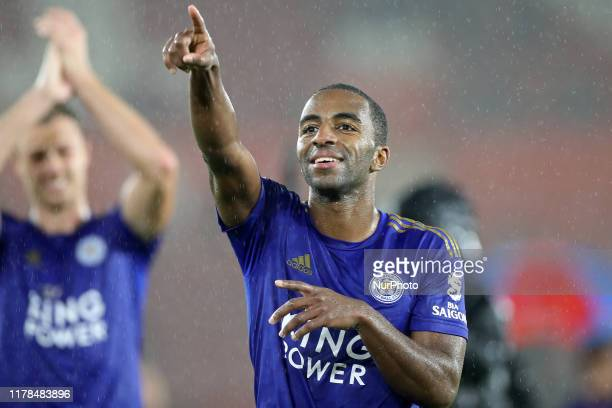 Leicester City defender Ricardo Pereira salutes the Leicester fans during the Premier League match between Southampton and Leicester City at St...