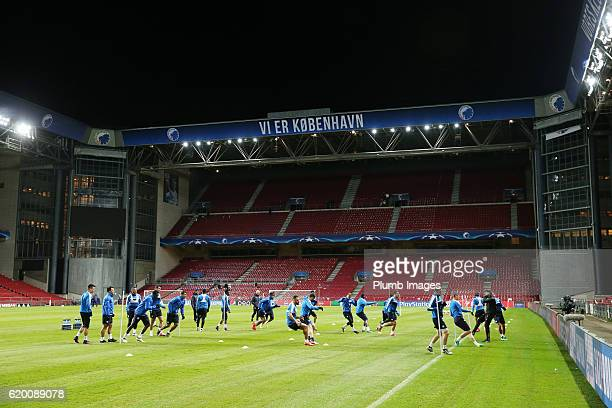 Leicester City during the training session at Telia Parken Stadium ahead of the Champions League match between FC Copenhagen and Leicester City on...