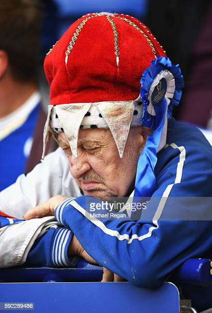 Leicester City fan before kick off during the Premier League match between Leicester City and Arsenal at The King Power Stadium on August 20 2016 in...