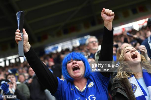 Leicester City fan celebrates during the Premier League match between Leicester City and Hull City at The King Power Stadium on March 4 2017 in...