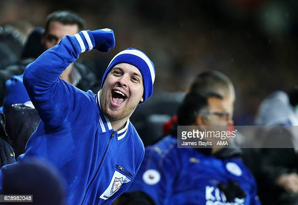 Leicester City fan celebrates his team's win against Manchester City during the Premier League match between Leicester City and Manchester City at...