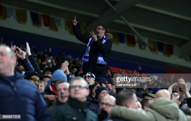 Leicester City fan gestures during the Carabao Cup QuarterFinal match between Leicester City and Manchester City at The King Power Stadium on...