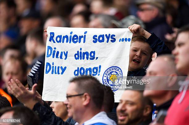Leicester City fan holds a banner prior to during the Barclays Premier League match between Leicester City and Swansea City at The King Power Stadium...