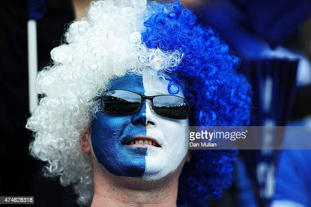 Leicester City fan looks on during the Barclays Premier League match between Leicester City and Queens Park Rangers at The King Power Stadium on May...