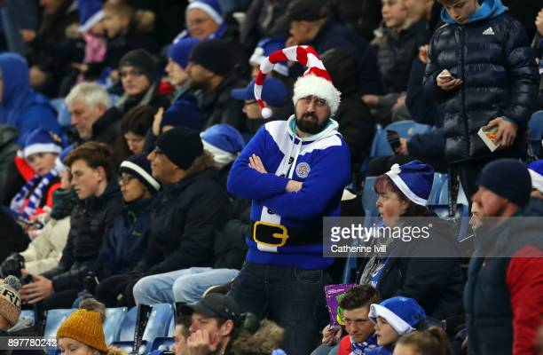 Leicester City fan wearing a Christmas outfit during the Premier League match between Leicester City and Manchester United at The King Power Stadium...