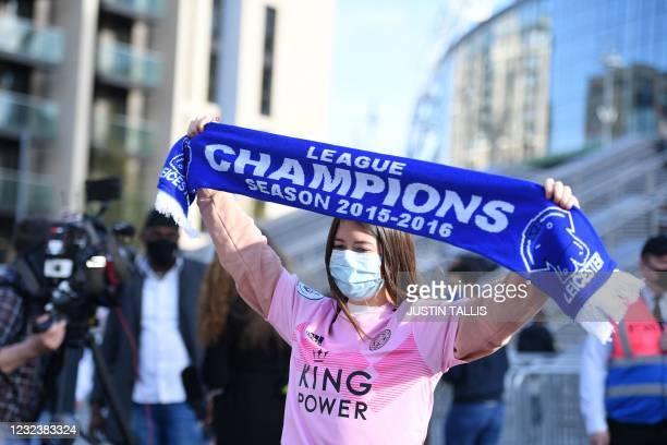 Leicester City fan who will attend the English FA Cup semi-final football match between Leicester City and Southampton at Wembley Stadium in north...