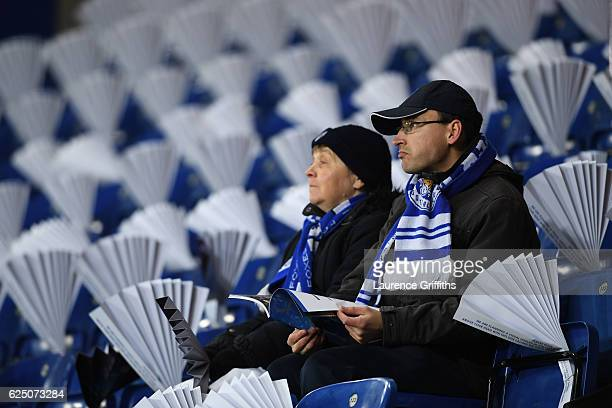 Leicester City fans are seen inside the stadium prior to the UEFA Champions League Group G match between Leicester City FC and Club Brugge KV at The...