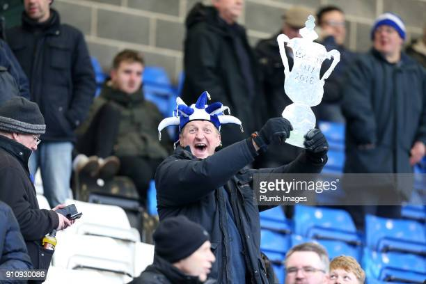 Leicester City fans at ABAX Stadium ahead of The Emirates FA Cup Fourth Round tie between Peterborough United and Leicester City at ABAX Stadium on...