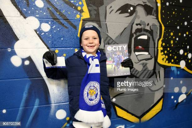 Leicester City fans at King Power Stadium ahead of The Emirates FA Cup Third Round Replay between Leicester City and Fleetwood Town at King Power...