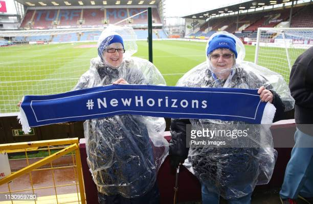 Leicester City fans at Turf Moor ahead of the Premier League match between Burnley FC and Leicester City at Turf Moor on March 16 2019 in Burnley...