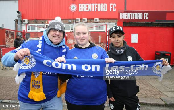 Leicester City fans begin to arrive at Griffin Park ahead of the FA Cup Fourth Round match between Brentford FC and Leicester City at Griffin Park on...