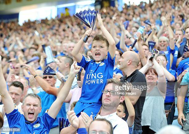 Leicester City fans celebrate a 42 win over Sunderland during the Barclays Premier League match between Leicester City and Sunderland at the King...