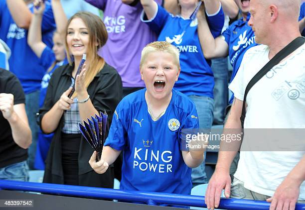 Leicester City fans celebrate a 4-2 win over Sunderland during the Barclays Premier League match between Leicester City and Sunderland at the King...
