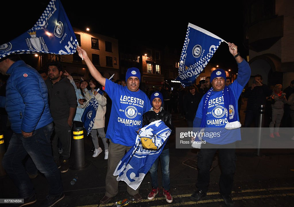 Leicester City Fans Watch Tottenham Hotspur Play Chelsea : News Photo