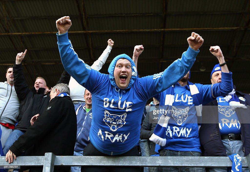 Leicester City fans celebrates the second goal during the Sky Bet Championship match between Burnley and Leicester City at Turf Moor on March 29, 2014 in Burnley, England.