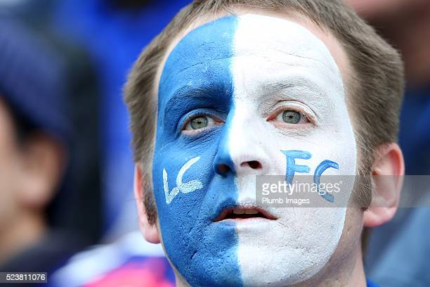 Leicester City fans during the Barclays Premier League match between Leicester City and Swansea City at the King Power Stadium on April 24 2016 in...
