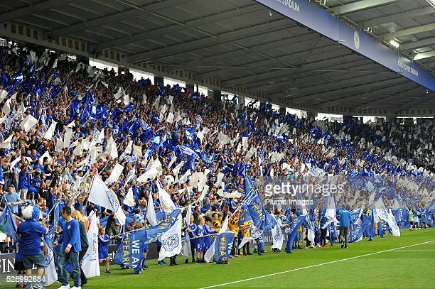 Leicester city fans during the Barclays Premier League match between Leicester City and Everton at the King Power Stadium on May 7th 2016 in...
