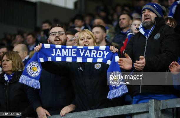 Leicester City fans during the Premier League match between Burnley FC and Leicester City at Turf Moor on March 16 2019 in Burnley United Kingdom