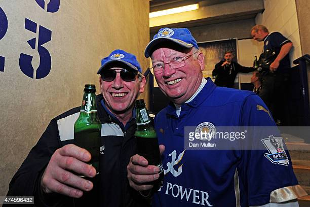 Leicester City fans enjoy free beer courtesy of their chairman prior to the Barclays Premier League match between Leicester City and Queens Park...