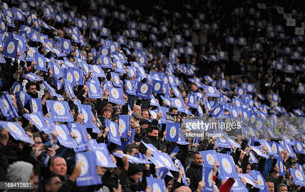 Leicester City fans hold up placards ahead of the npower Championship Play Off Semi Final First Leg match between Leicester City and Watford at The...