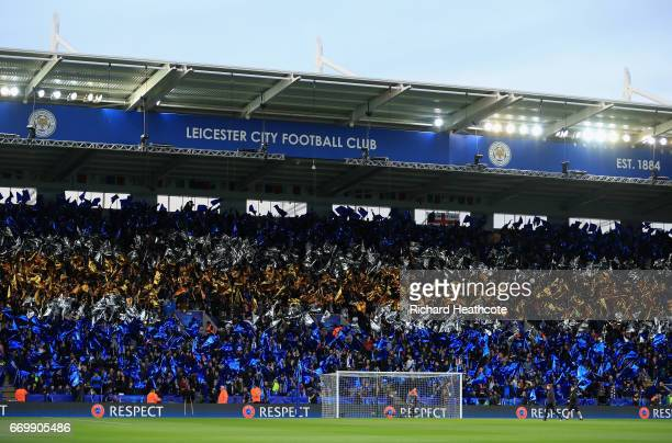 Leicester City fans wave flags prior to the UEFA Champions League Quarter Final second leg match between Leicester City and Club Atletico de Madrid...